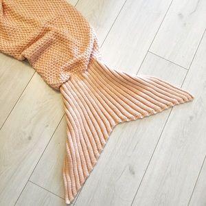 Light pink knit mermaid blanket throw
